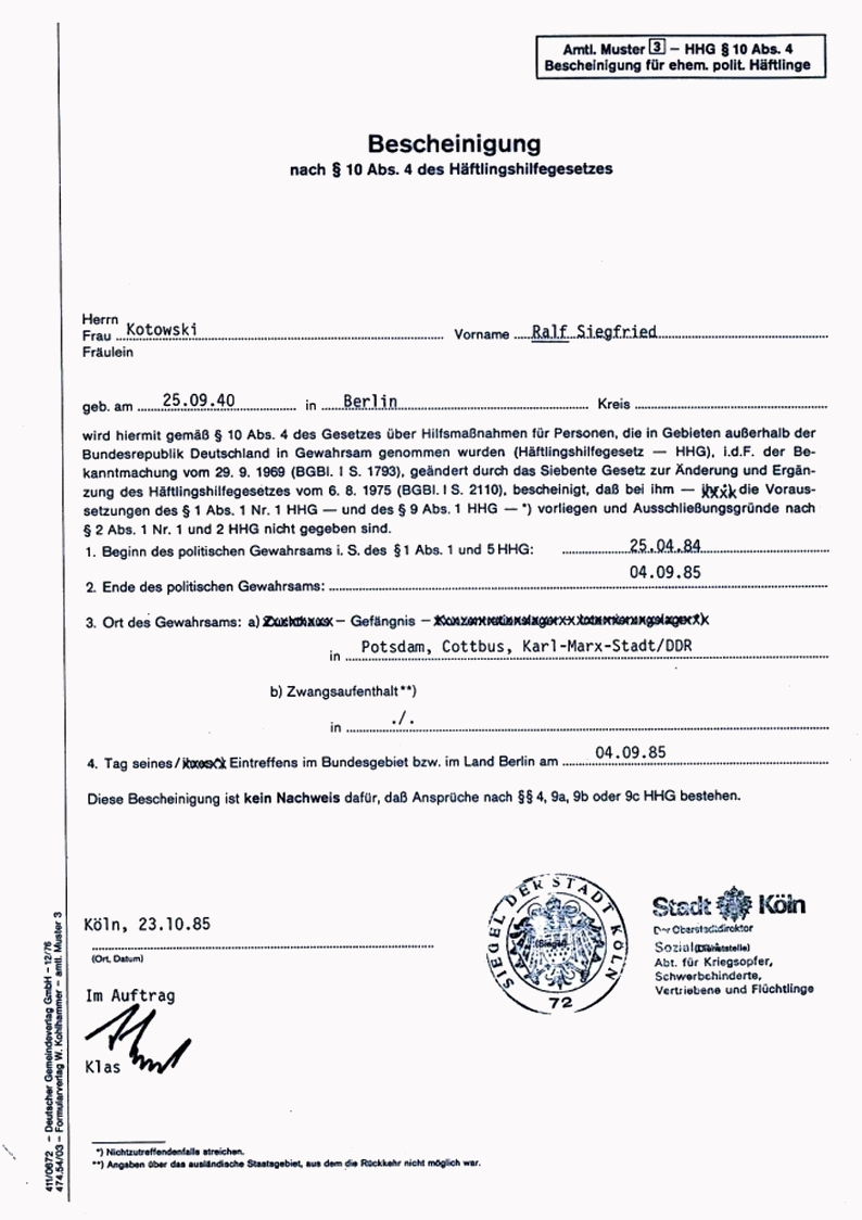 185. Petition – Freigekaufte DDR-Häftlinge neu überprüfen – SED ...